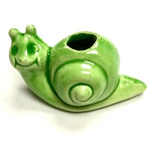 Vintage Ceramic Macrame Snail Bead - Green
