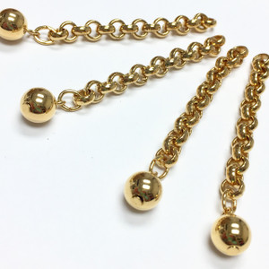Vintage Gold Plated Rolo Style Chain Extender Lengths with End Bead
