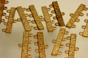 Vintage Japanese Matte Gold 4-strand Connectors-Special Deal!-28 x 8mm