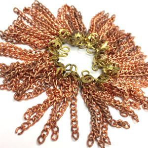 Vintage Filigree Top Copper Chain Tassels