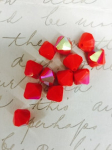 Rare Vintage Czech Preciosa Faceted Opaque Bicone Beads-Arrest Me Red AB-8mm