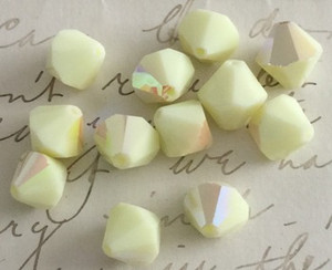 Rare Vintage Czech Preciosa Faceted Opaque Bicone Beads-Lemon AB-11mm