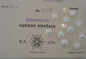 Vintage Swarovski Crystal Art. 5007 Chalkwhite AB-8mm