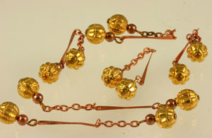 Vintage Copper and Brass Ball and Chain Dangles