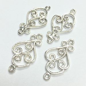 Sterling Silver Simple Turns Filigree Finding-20 x 11mm