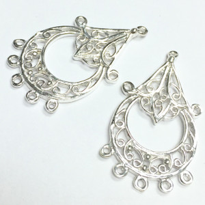 Sterling Silver Teardrop Chandelier Filigree Finding-16 x 30mm