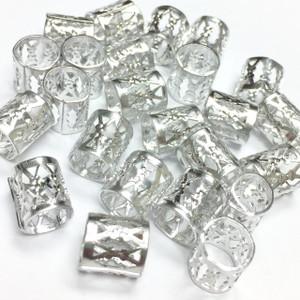 Vintage Silver Plated Filigree Barrel Beads