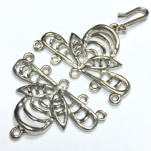 Vintage Silver Toned Filigree Bumble Bee Hook and Eye Clasp-5 strand