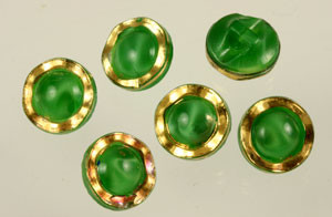 Vintage German Green Glass Moonglow and Gold Luster Buttons