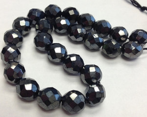 Vintage 10mm Hematite Faceted Czech Beads