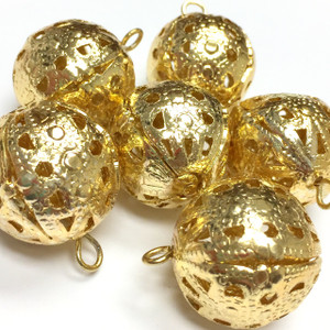 Vintage Gold Plated Dangling Filigree Bead  CLOSEOUT BLOWOUT