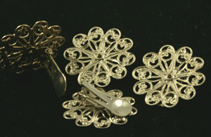 Vintage Silver Tone Filligree Clip-On Earring Components- 27mm