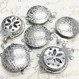 Vintage Silver Toned Satin Finish Button Clasps-Triple Strand-18mm