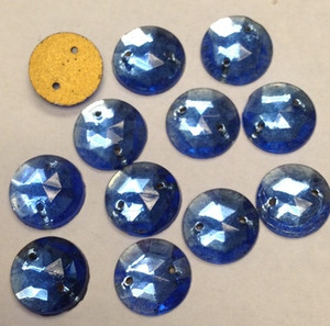 Vintage Sapphire Blue Faceted & Foiled Flat Back Sew On Beads