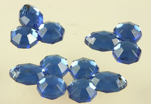 Vintage Sapphire Crystal Faceted Trefoil Sew On Beads
