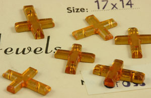 Vintage Sew On Topaz Crosses