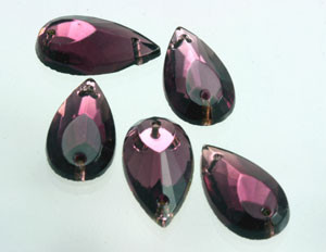 Vintage W. German Amethyst Faceted Teardrop  Sew on Beads