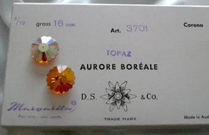 Vintage Swarovski Margaritas Topaz AB 16mm-CLOSEOUT BLOWOUT!