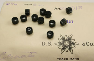 Vintage Swarovski Ribbed Wheel Beads Jet - 6mm