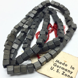 Vintage Miriam Haskell Charcoal Square Wood Beads