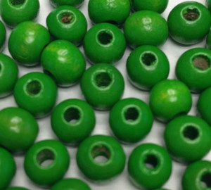 Vintage Round Green Wood Beads - 6mm
