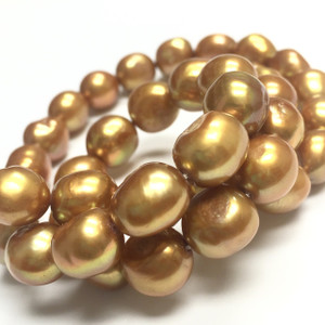 Golden Nugget Freshwater Pearl Beads - 10-11mm
