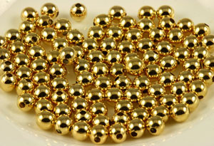 Vintage Gold Plated 5mm Round Beads CLOSEOUT