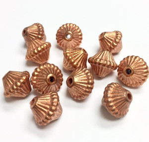 Vintage Copper Ribbed Bicone Beads-Large