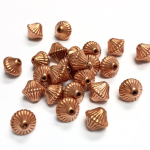Vintage Copper Ribbed Bicone Beads-Small