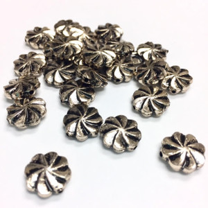 Vintage Antiqued Silver Toned Pinwheel Beads