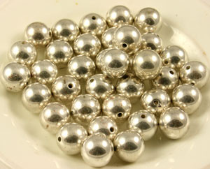 Vintage Silver Toned Metalized Round Beads