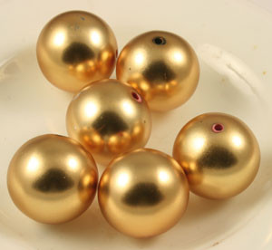 Vintage Satin Finish Gold Toned Round Beads