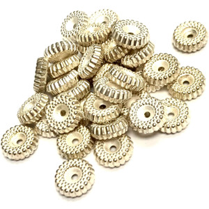 Vintage Silver Toned Metalized Gear Spacer Beads 10 x 3mm