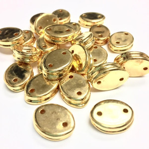 Vintage Two Holed Gold Metalized Connector Beads