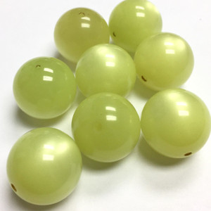 Vintage Italian Lucite Round Beads - Not quite your Cat's Eye Yellow-18mm