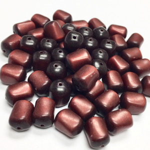 Vintage Italian Lucite Burnt Cinnamon Moonglow Beads with a Twist-10 x 7mm