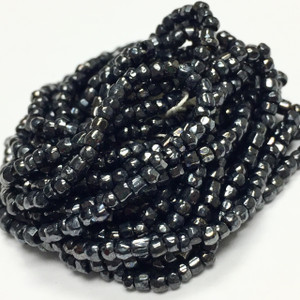 Vintage Czech Hex Cut Seed Beads-Gun Metal