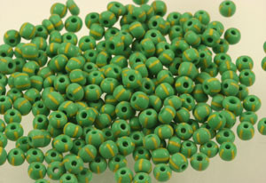 Vintage Very Rare Green and Yellow Striped Seed Beads