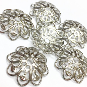 "Vintage ""Dainty with Dimension"" Rhodium Plated Filigree Stamping-18mm"