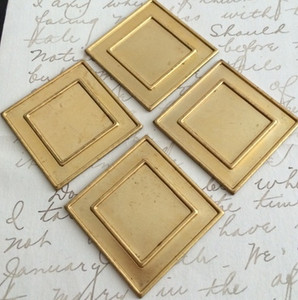 Vintage Brass Square Stampings 36mm