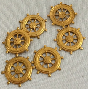 Vintage Brass Captain's Wheel Stampings. 14mm