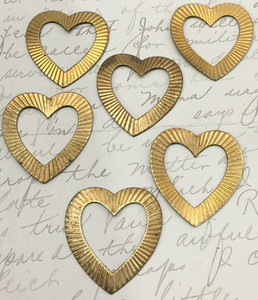 Vintage Brass Open Heart Stampings 34mm