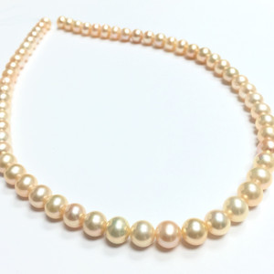 Natural Peachy Pink Semi-Round Freshwater Pearl Beads-AA Grade-6.5-7mm