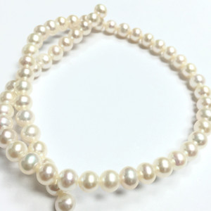 Natural White Semi-Round Freshwater Pearl Beads- AA+ Grade-7.5mm