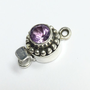 Amethyst and Sterling Silver Clasp 10mm