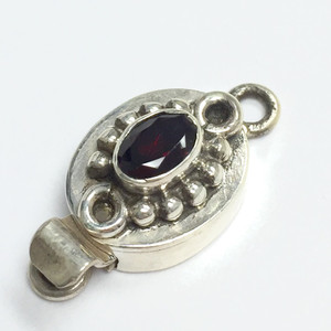 Garnet and Sterling Silver Oval Box Clasp 11 x 14mm
