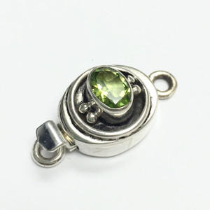 Peridot and Sterling Silver Box Clasp 12mm