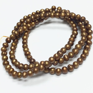 Tiny Freshwater Semi-Round Harvest Gold Pearl Beads-3-3.5mm