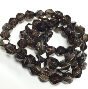 Smokey Quartz Faceted Round Beads-6mm