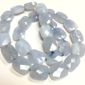 Chalcedony Faceted Rectangle Cushion Beads-14 x 11 x7mm
